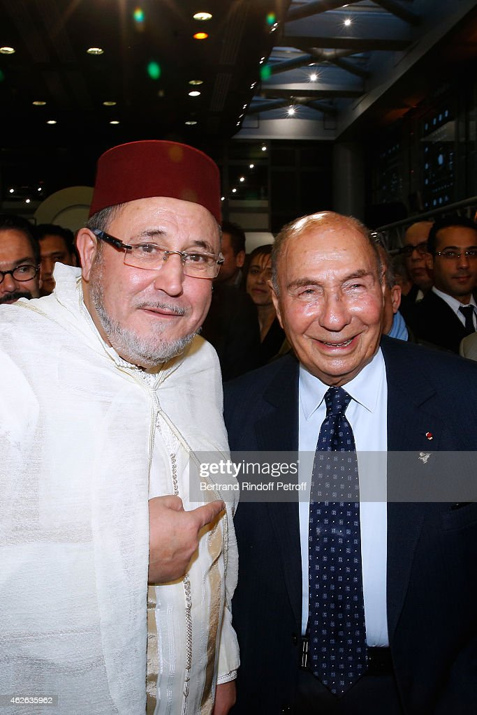 Rector of the Mosque of Evry, awarded Khalil Merroun and <a gi-track='captionPersonalityLinkClicked' href=/galleries/search?phrase=Serge+Dassault&family=editorial&specificpeople=780308 ng-click='$event.stopPropagation()'>Serge Dassault</a> attend HRH The Princess Lalla Meryem of Morocco delivers the insignia of the Order of the Throne. Held at Institut du Monde Arabe on February 1, 2015 in Paris, France.