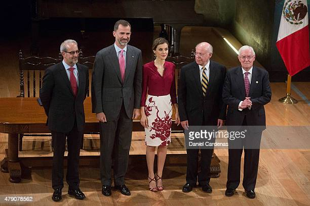 Rector of the University of Salamanca Daniel Hernandez Ruiperez Spanish King Felipe VI Queen Letizia Rector of UNAM Jose Narro and Director of...