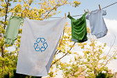 Recyclable laundry drying on clothesline