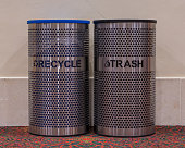 Recycle and Trash Bins inside conference center