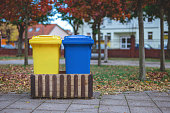 Recycle bins on the street.