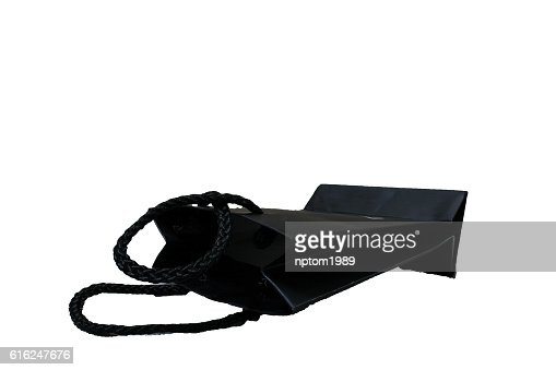 recycle black paper bag isolated on white background. : Stock Photo