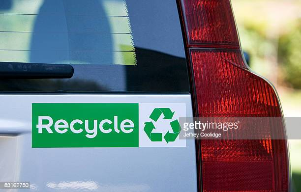 Recycle bumper sticker on car