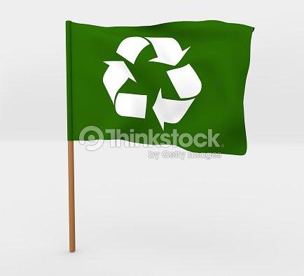 Simbolo Di Riciclo Su Albero Illustrazione 3d Bandiera Foto Stock