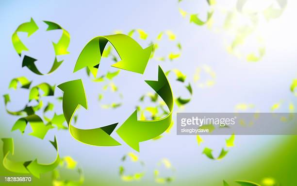Recycle symbol leaves in spring breeeze