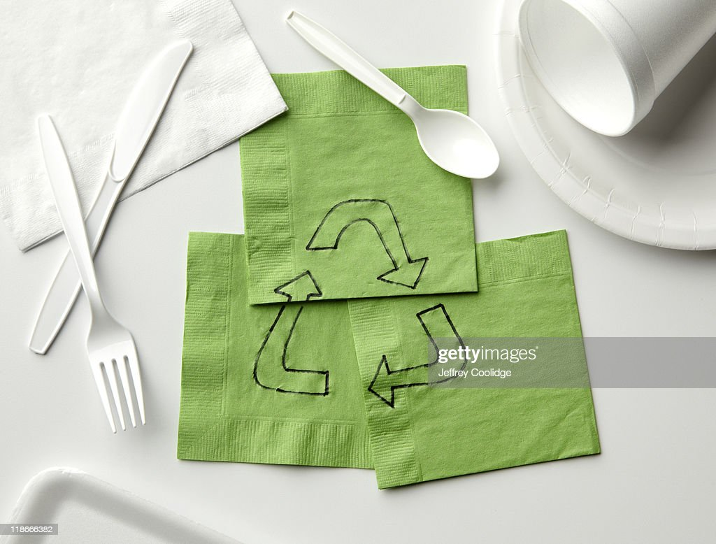 Recycle Symbol on Napkins : Stock Photo