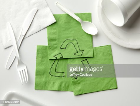 Recycle Symbol on Napkins : Stock Photo