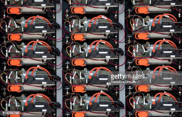 Recycled batteries of the Toyota Motor Corp Prius hybrid vehicle are seen inside a Toyota Turbine and Systems Inc storage battery system at the Hama...