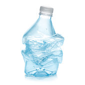 Squashed plastic bottle in order to recycle. Blue color bottle and white stopper with a soft reflection against white background.Clipping path on the object not on shadow reflection.A few water bubble