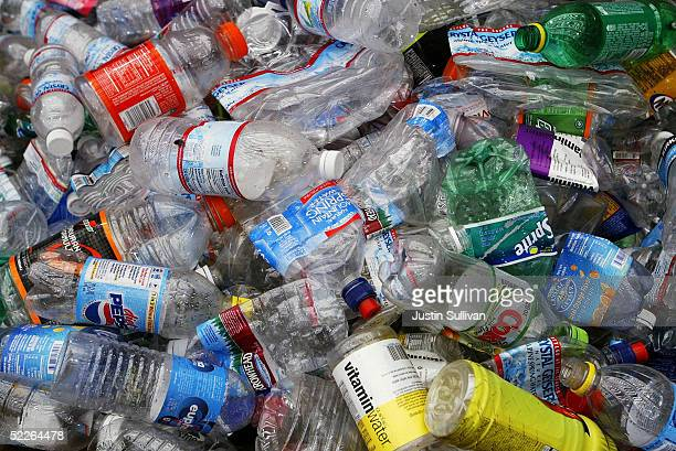 Recycled plastic bottles are seen at the San Francisco Recycling Center March 2 2005 in San Francisco California Bottled water is the single largest...