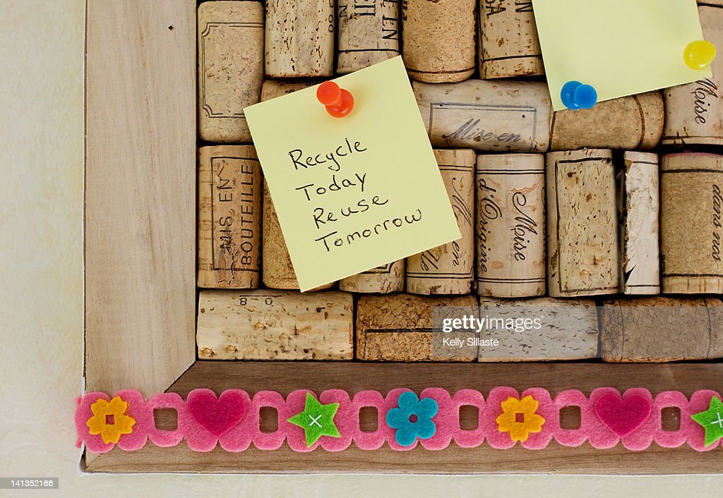 Recycled tack board from wine corks