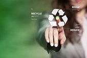 Businesswoman touching recycling symbol on virtual touch screen. Environmental concept recycle - reduce - reuse.