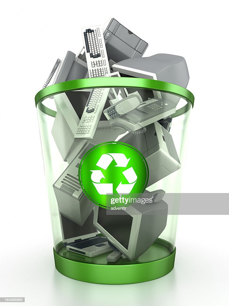 Recycling bin containing computer components : Stock Photo
