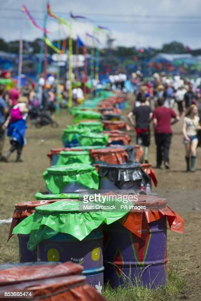 Recycling bins at the Glastonbury Festival at Worthy Farm in Somerset All waste on site is sorted into recycling groups by volunteers working 5hour...