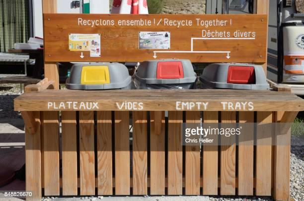 Recycling Bins in Outdoor Restaurant