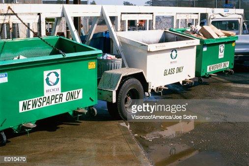 Recycling bins on wheels : Stock Photo