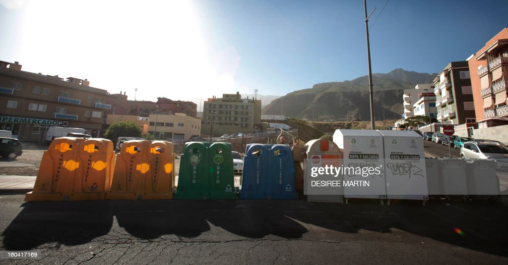 Recycling containers are pictured in Santa Cruz de Tenerife on January 30, 2013 .