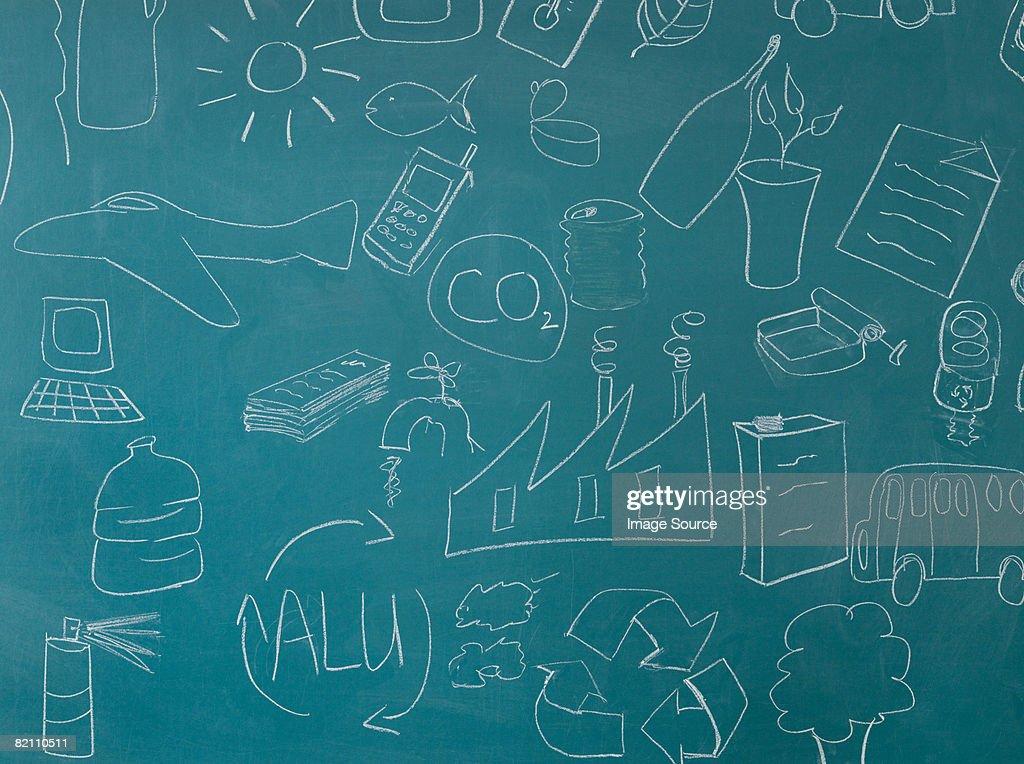 Recycling illustrations on blackboard : Stock Photo