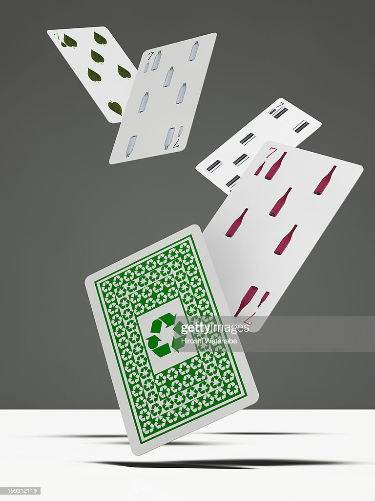 Recycling playing cards in mid-air