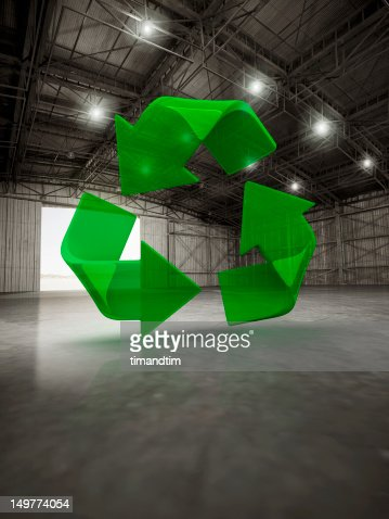 Recycling symbol in a hangar : Stock Photo