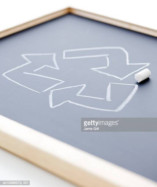Recycling symbols drawn on slate (differential focus)