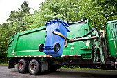 Robot Arm emptying Wheeled Recycling Bin.