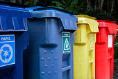 Recycling waste bins and selective collection of colored plastic for disposables