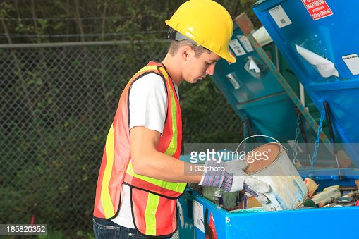 Recycling Worker - Paint Recycle : Stock Photo