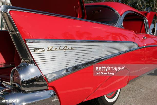Red 1957 Chevrolet Bel Air tail fin