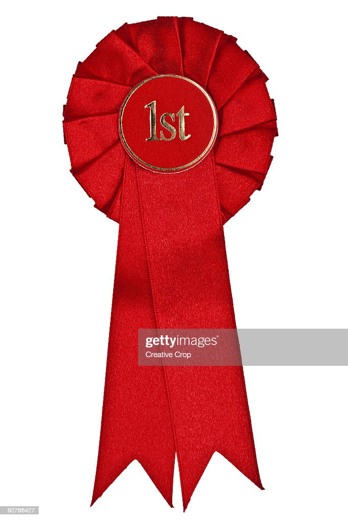 Red 1st place rosette : Stock Photo