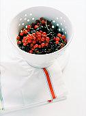 Red and black currants in colander atop towel, elevated view