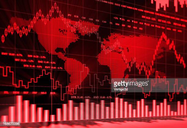 Red and black financial charts background