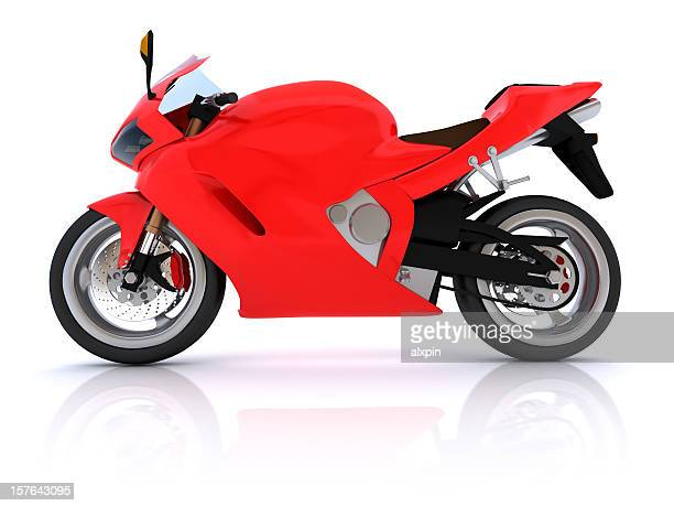 Red and black motorcycle on a white background