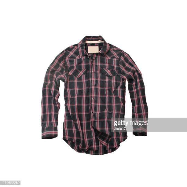 Red and Black Plaid Cowboy-Shirt on a White Background