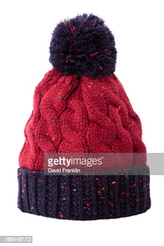 Red and blue bobble hat