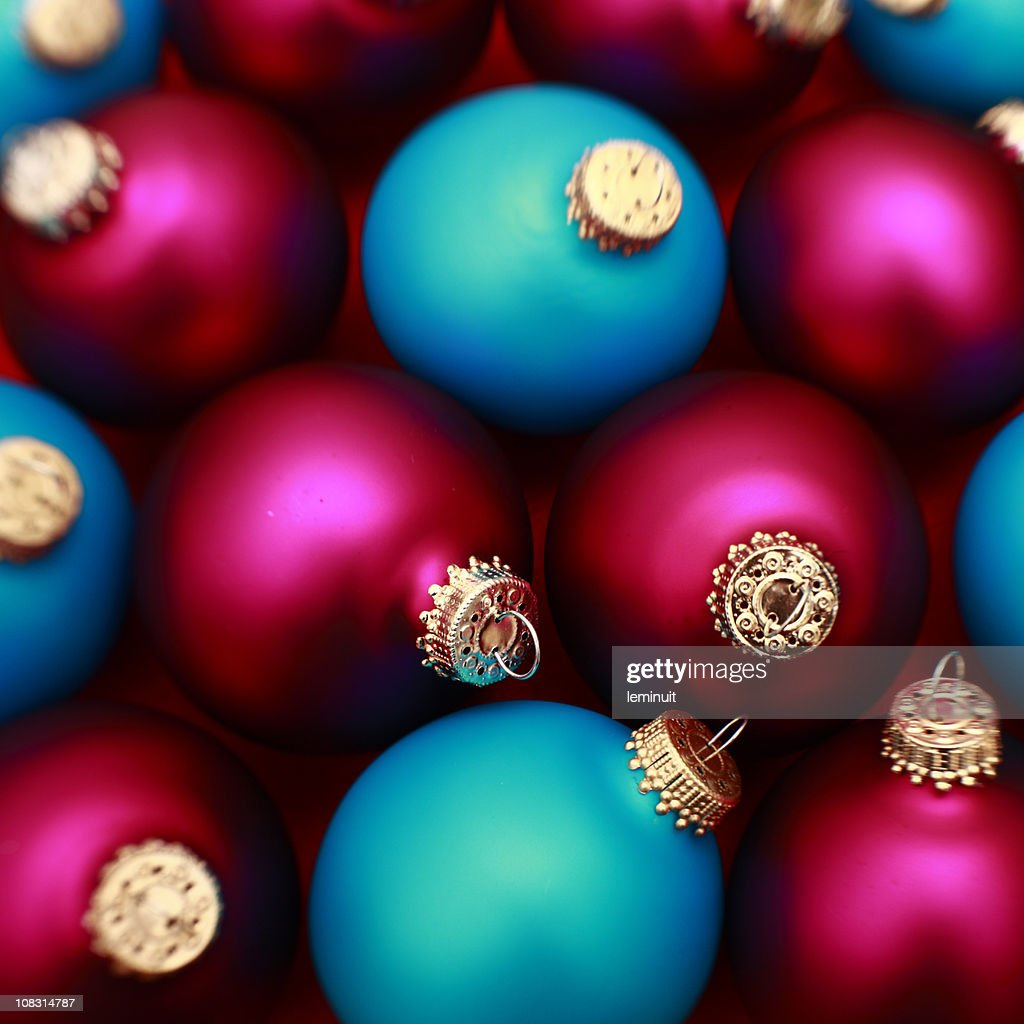 Red and blue christmas baubles background : Stock Photo