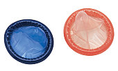 red and blue condom