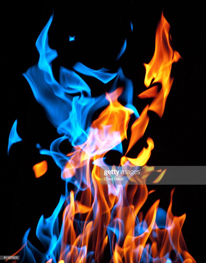 Red and blue flames mixing
