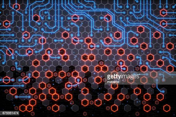 Red And Blue Honeycomb Circuitry
