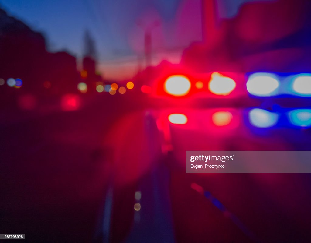 Superior Red And Blue Lights Of Police Car In Night Time. Night Patrolling The City.