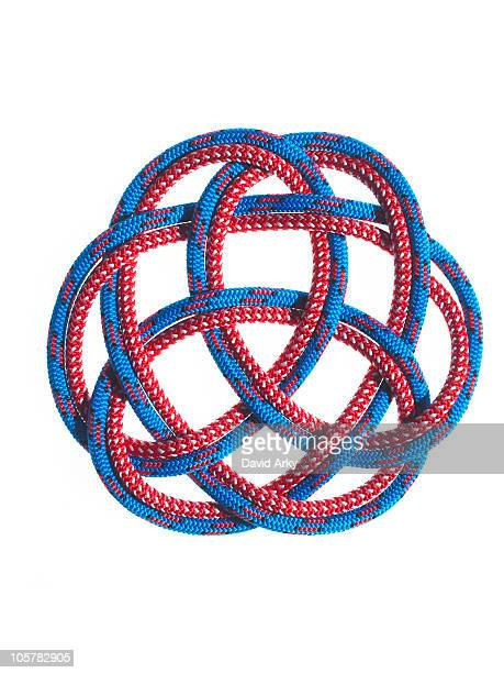 Red and blue rope looped together