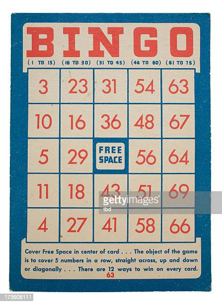 Red and blue vintage bingo card design on white background