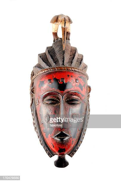 Red and brown traditional tribal mask From Mali
