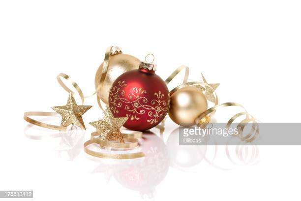Red and Gold Christmas Ornaments with Reflections