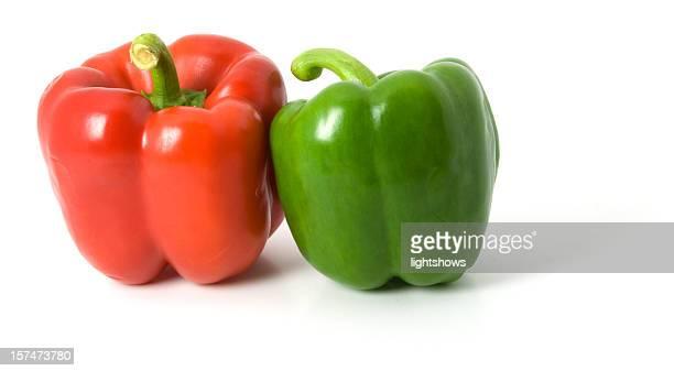 赤と緑のピーマン