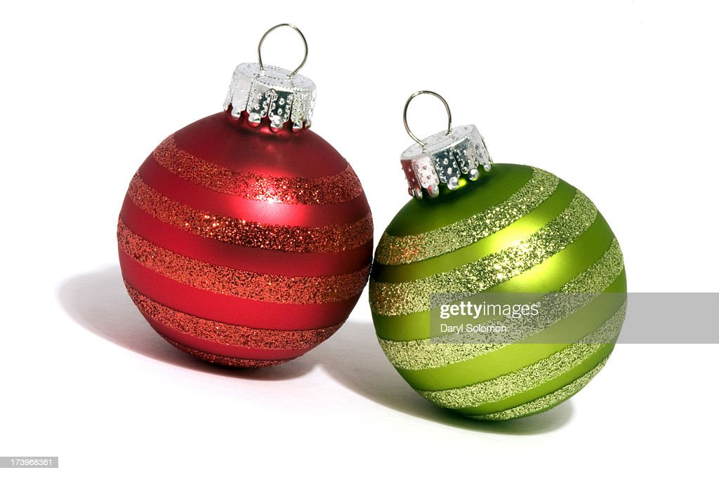 Red and green christmas ornaments stock photo getty images for Red and green christmas decorations