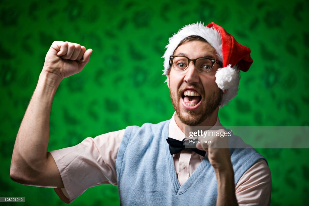 Red and Green Dancing Christmas Nerd