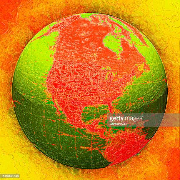 Red and Green Globe Against Orange Background