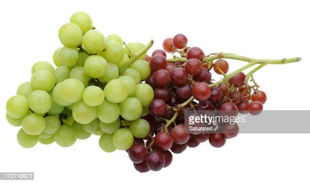 Red and Green Grapes Isolated on White Background