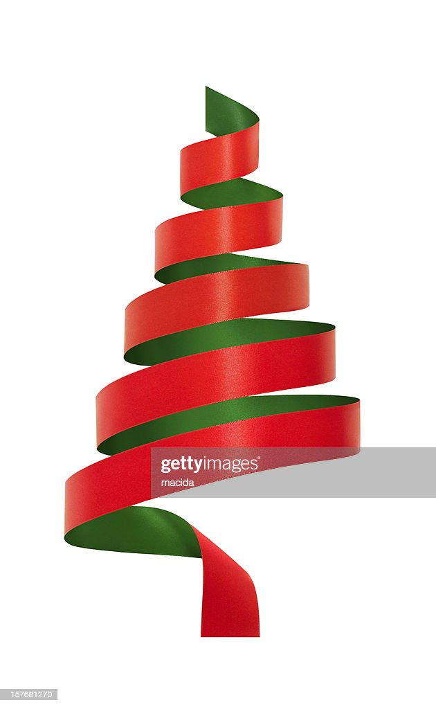 Red and green ribbon christmas tree stock photo getty images for Red and green christmas tree